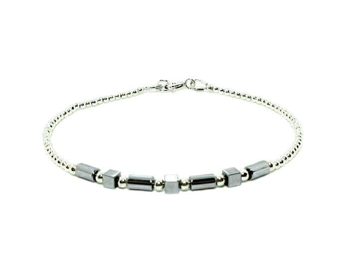 Dainty Silver Hematite Tubes & Cubes Bracelet With Sterling Silver Beads