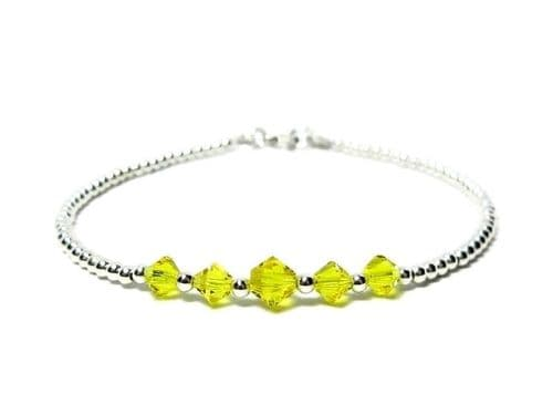 Dainty Sterling Silver Bracelet With Yellow Austrian Crystals