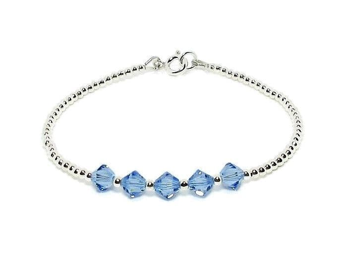 Dainty Sterling Silver Stacker Bracelet With Sapphire Blue Austrian Crystals