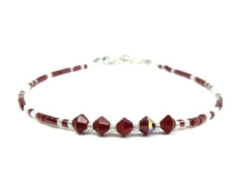 Dark Red & White Seed Bead Stacker Bracelet With Crystals