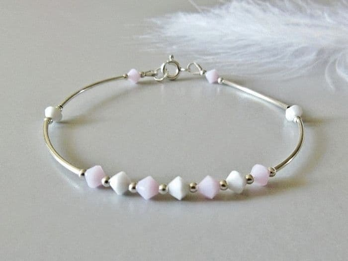 Elegant  Sterling Silver Bangle Bracelet With Pink & White Crystals