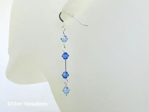 Elegant Sterling Silver Tube Earrings With Sapphire Blue Swarovski Crystals