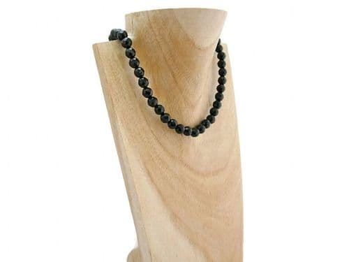 Faceted Black Onyx Bead Sterling Silver Necklace