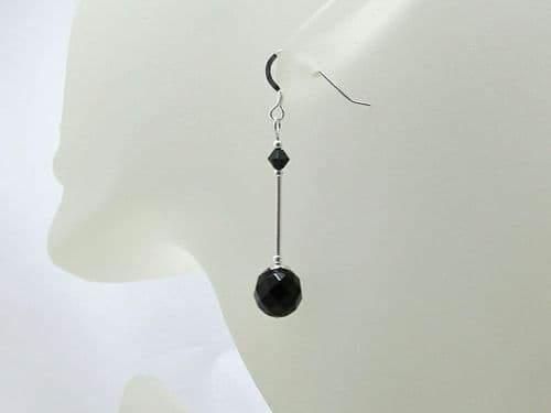 Faceted Black Onyx & Sterling Silver Earrings With Swarovski Crystals