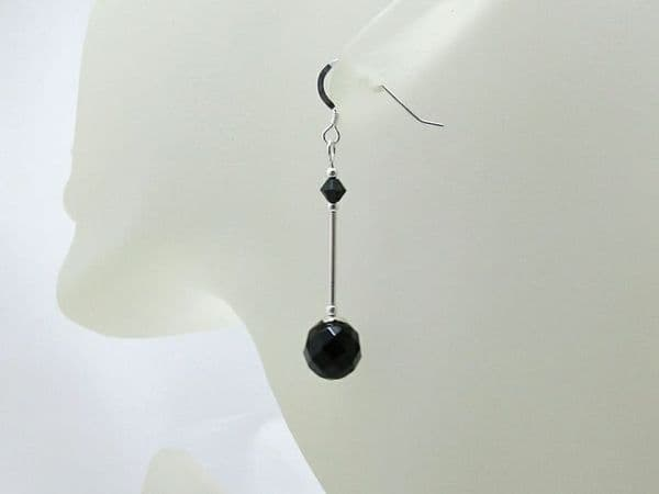 Faceted Black Onyx & Sterling Silver Earrings With Swarovski Crystals | Silver Sensations