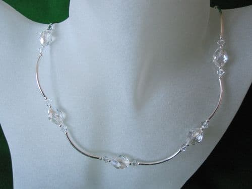 Faceted Clear Rock Crystal Oval Beads, Swarovski Crystals & Sterling Silver Necklace