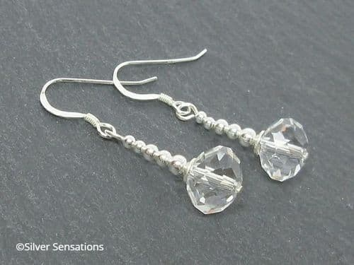 Faceted Clear Rock Crystal Rondelle Beaded Earrings With Sterling Silver