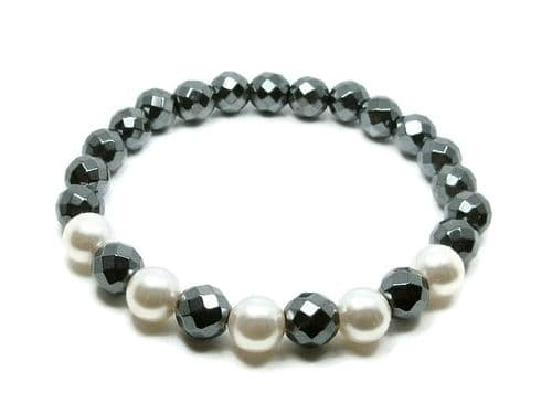 Faceted Hematite Beads & White Swarovski Pearls Bracelet