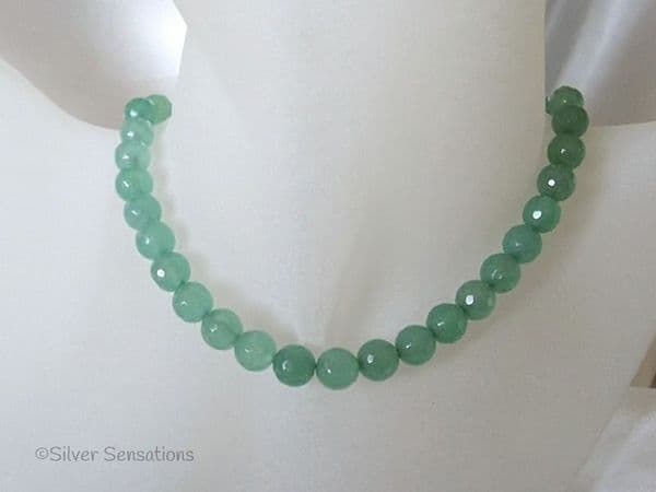 Faceted Light Green Jade Beaded Sterling Silver Necklace | Silver Sensations