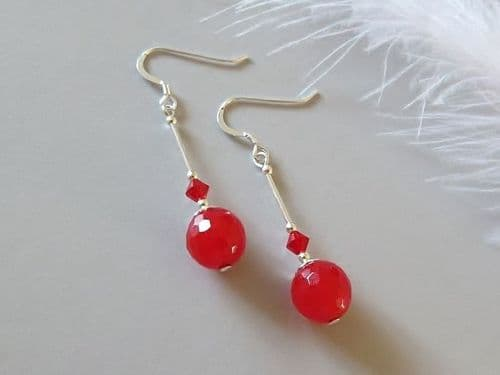 Faceted Red Jade Earrings With Swarovski Crystals & Sterling Silver Tubes
