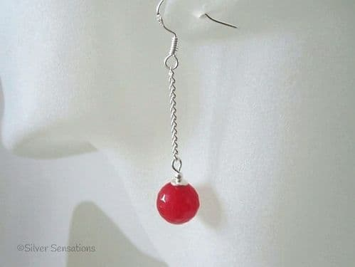 Faceted Red Jade & Sterling Silver Chain Earrings