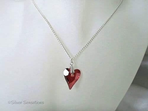 Faceted Swarovski Copper Red Crystal Wild Heart Pendant Handmade Chain Necklace
