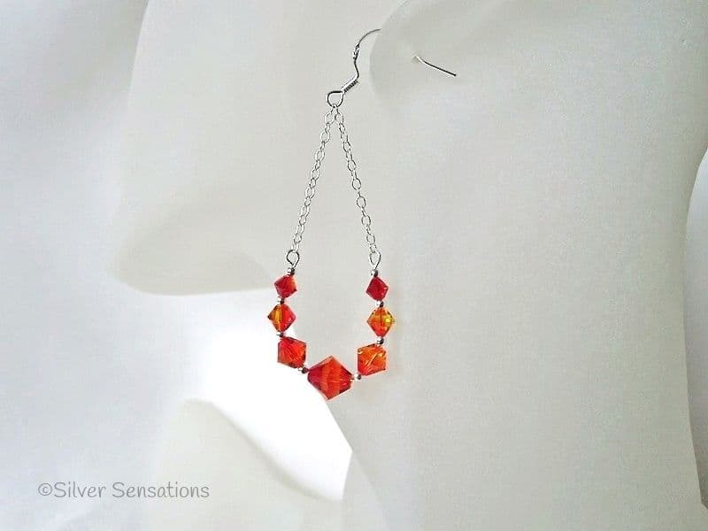 Fiery Orange Graduated Crystal Hoops & Sterling Silver Chain Earrings With Swarovski Crystals