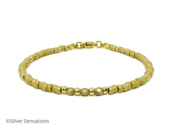 Frosted Gold Seed Beads Holiday Friendship Bracelet   Silver Sensations