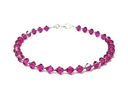 Fuchsia Pink Crystals & Sterling Silver Tennis Style Bracelet