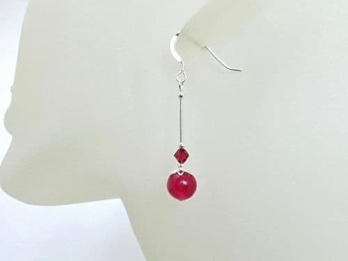 Fuchsia Pink Jade Earrings With Austrian Crystals & Sterling Silver