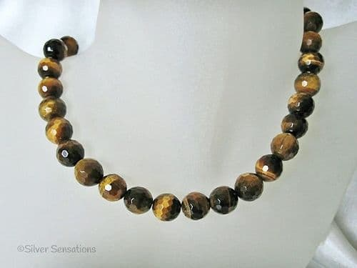 Gleaming Faceted Brown & Yellow Tiger's Eye Chunky Sterling Silver Necklace