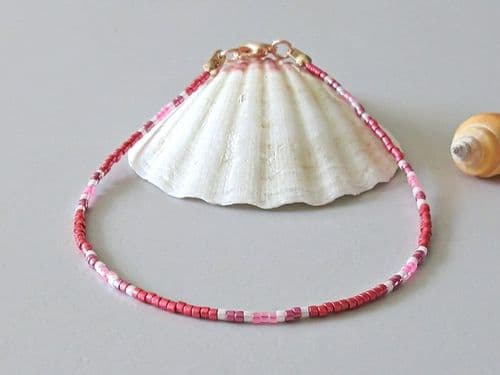 Glossy Dark Red, Pink & White Seed Bead Boho Anklet