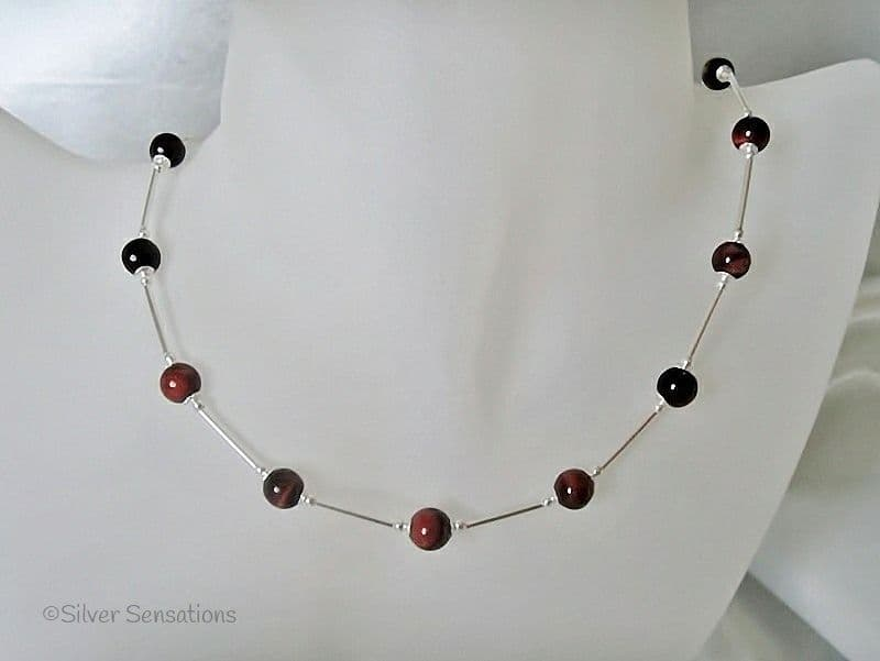 Glowing Red Tiger's Eye & Sterling Silver Tubes Necklace