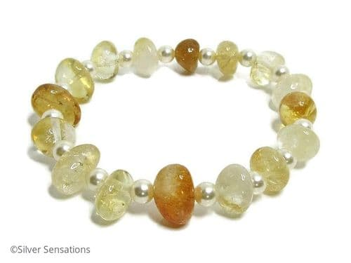 Golden Yellow Citrine Nuggets Elegant Beaded Bracelet With Swarovski Creamy Pearls