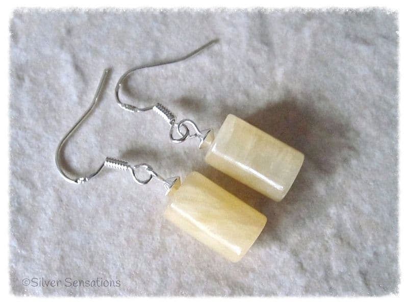 Golden Yellow Honey Jade Tube & Sterling Silver Short Drop Earrings