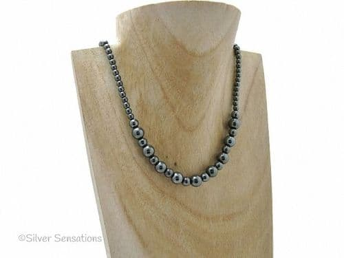 Graduated Hematite Beaded Sterling Silver Necklace