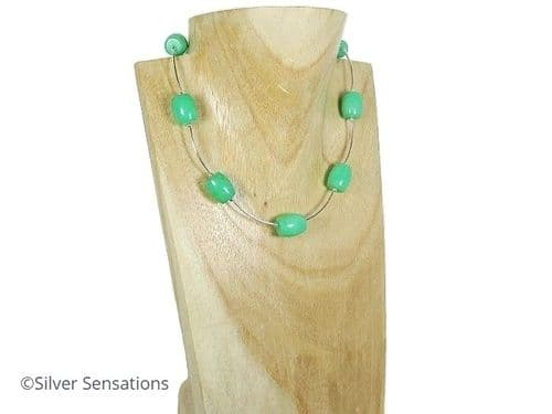 Green Aventurine Barrel Beads Necklace With Sterling Silver Tubes