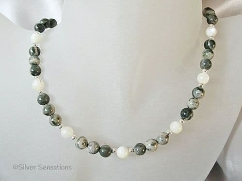 Green & Cream Alpine Agate & Ivory Cream Mother of Pearl Sterling Silver Necklace