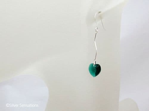 Green Crystal Heart Earrings With Solid Sterling Silver Curved Bars
