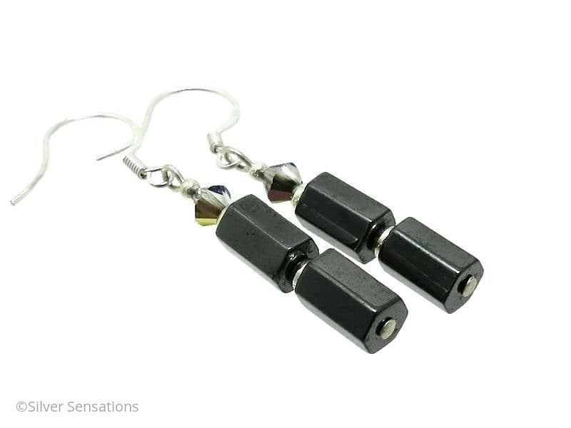 Hematite 6 Sided Tubes, Swarovski Crystals & Sterling Silver Drop Earrings