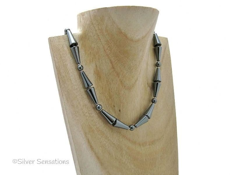 Hematite Cones & Rounds Sterling Silver Beaded Necklace