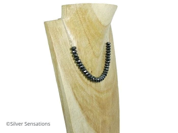 Hematite Rondelle Beads & Sterling Silver Chain Necklace