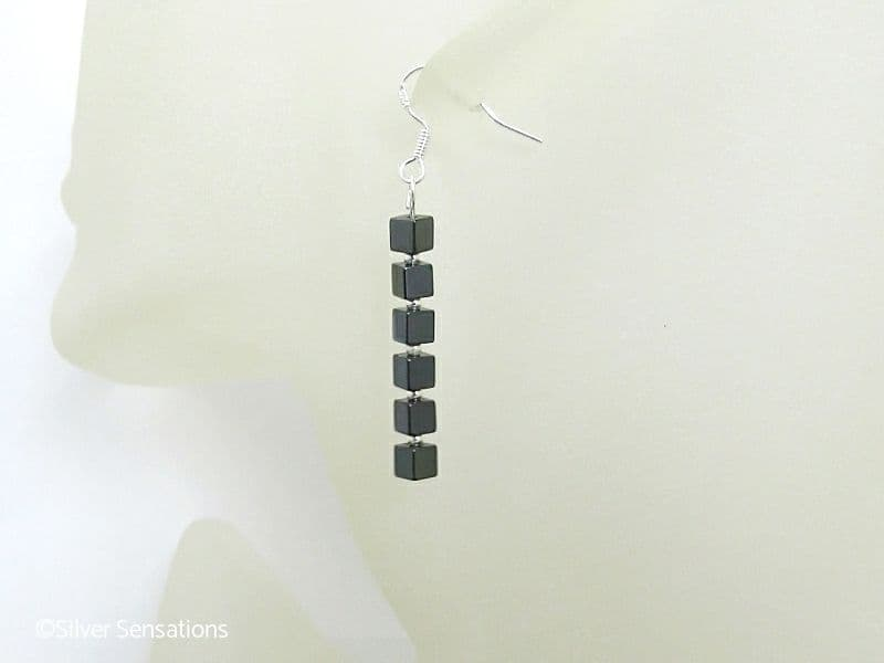 Hematite Square Cubes Stack & Sterlng Silver Drop Earrings