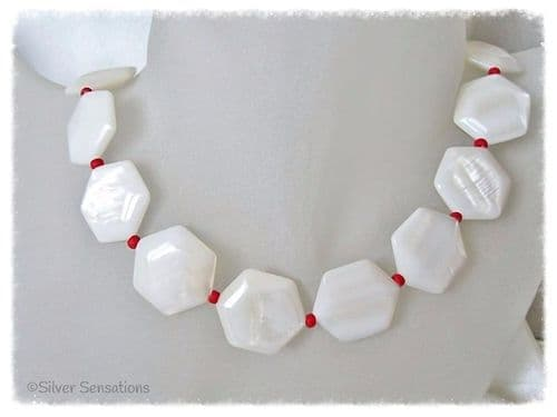 Hexagonal White River Shell & Red Bead Sterling Silver Necklace