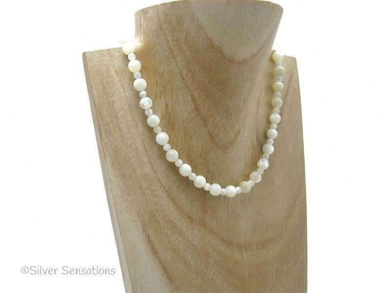 Ivory Cream Mother of Pearl 2 Size Round Bead Sterling Silver Necklace