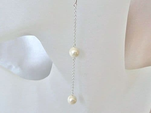 Ivory Cream Shell Pearls & Sterling Silver Chain Long Earrings