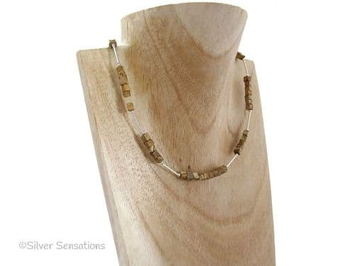 Light Brown Picture Jasper Square Cubes & Sterling Silver Necklace
