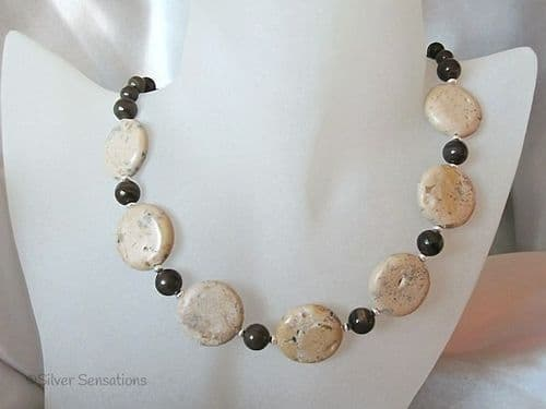 Light Brown Sand Jasper Coins Chunky Necklace With Brown Coffee Jasper & Sterling Silver