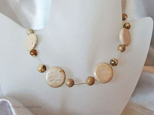 Light Brown Sand Jasper Coins, Picture Jasper & Sterling Silver Chunky Necklace