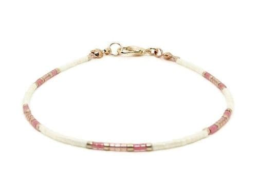 Light Cream, Pink & Rose Gold Dainty Seed Bead Stacking Bracelet