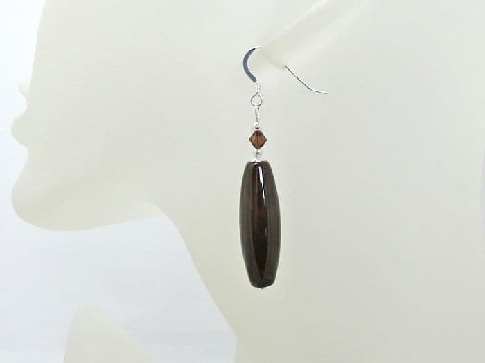 Long Dark Brown Red Agate Earrings With Swarovski Crystals & Sterling Silver