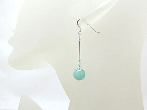 Mint Green Jade & Sterling Silver Tube Earrings With Crystals