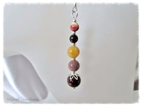 Multi Colour Mookaite & Sterling Silver Earrings