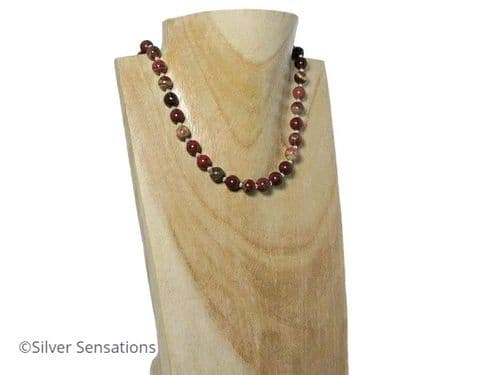 Multi Colour Rainbow Jasper Ladies Necklace With Sterling Silver Beads