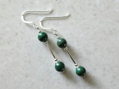 Natural Green Malachite Beaded Earrings With Sterling Silver Tubes
