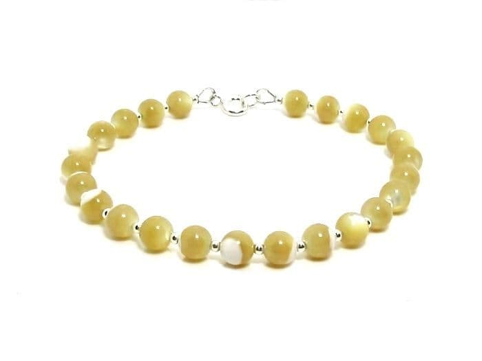 Natural Mother of Pearl & Sterling Silver Beaded Bracelet