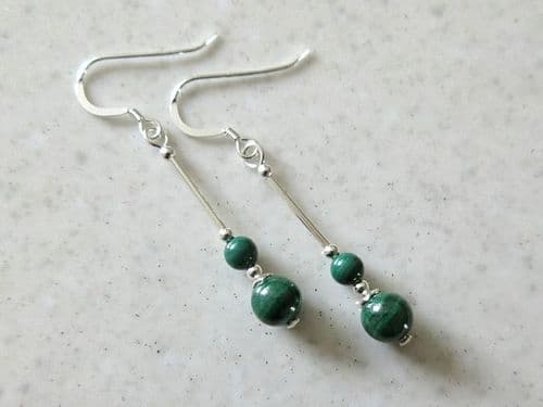 Natural Stripey Green Malachite Earrings With Sterling Silver Tubes