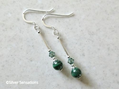 Natural Stripey Green Malachite Earrings With Swarovski Crystals & Sterling Silver