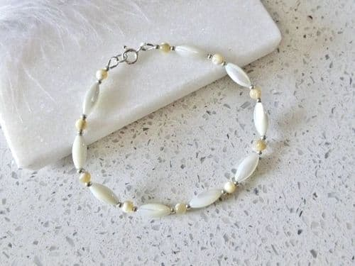 Natural White & Beige Mother of Pearl Bracelet With Sterling Silver Beads | Silver Sensations