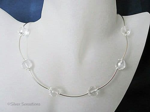 Paige - Faceted Clear Rock Crystals & Sterling Silver Curved Tubes Bridal Necklace